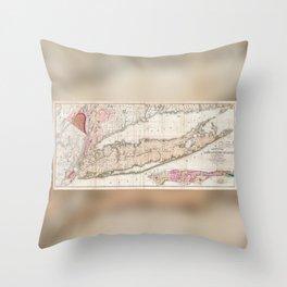 Long Island New York 1842 Mather Map Throw Pillow