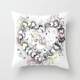 Unicorn and Hearts Art Illustration Throw Pillow