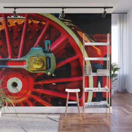 Large Red Wheel Of A Retro Steam Locomotive Wall Mural