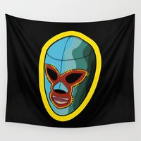 mask Wall Tapestries featuring mask by mark ashkenazi