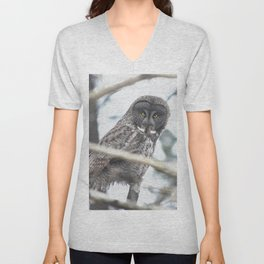 Let Us Prey - Great Grey Owl & Mouse Unisex V-Neck