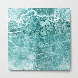 Turquoise Marble ocean Metal Print