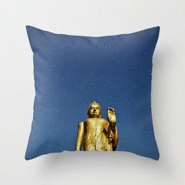 Moonlight Standing Buddha over starry sky (night shot) Throw Pillow