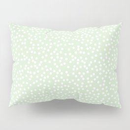 Palest Green and White Polka Dot Pattern Pillow Sham