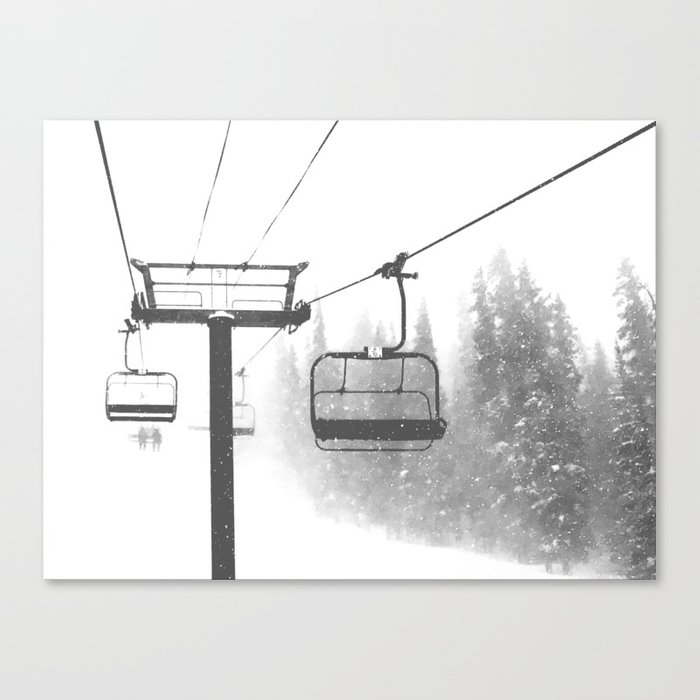Chairlift Abyss // Black and White Chair Lift Ride to the Top Colorado Mountain Artwork Leinwanddruck