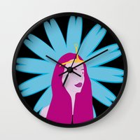 princess bubblegum Wall Clocks featuring Princess Bubblegum by nilvohs designs