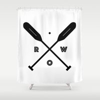 rowing Shower Curtains featuring Rowing x Oars by KC Design Co.