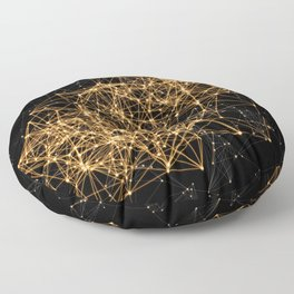 Shiny golden dots connected lines on black Floor Pillow