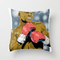 floyd Throw Pillows featuring Floyd Mayweather by Averagejoeart