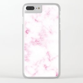 Chic White and Pink Marble Texture Clear iPhone Case