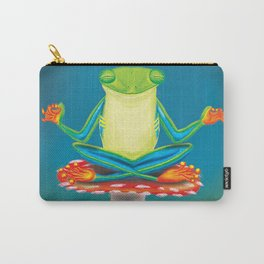 Yoga green frog meditating in a mushroom Carry-All Pouch