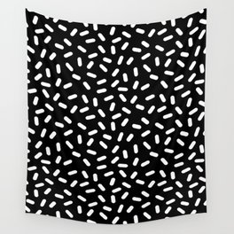 Bingo - black and white sprinkle retro modern pattern print monochromatic trendy hipster 80s style Wall Tapestry