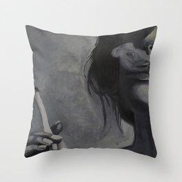 Smoking Girl Throw Pillow