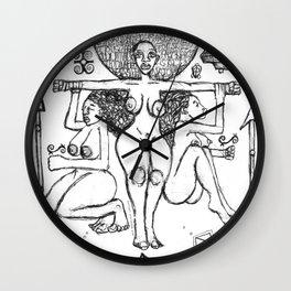 2013 Goddess of Balance (white design) art by Marcellous Lovelace Wall Clock