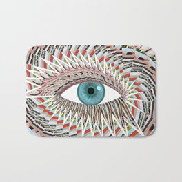 Origami Chakra Eye - Aqua Marine Blue Bath Mat