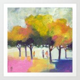 Promenade at the park. Art Print