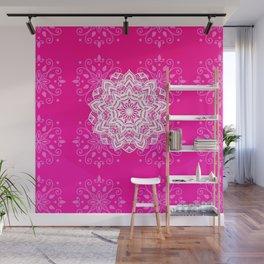 White mandala on bright pink design Wall Mural