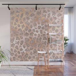 Rosegold Blush Leopard Glitter   Wall Mural
