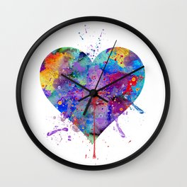 Heart Art Colorful Watercolor Gift Love Gift Valentine's Day Gift Wedding Gift Engagement Gift Wall Clock