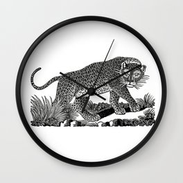 Majestic Leopard Hunts in the Night Wall Clock