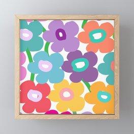 Hippy Dippy Happy Flowrs Framed Mini Art Print
