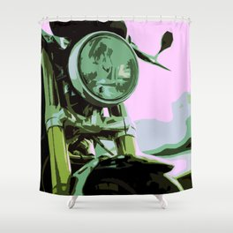 Cool Vivid Standing Motorcycle on the road Shower Curtain