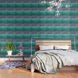 Ombre Mountainscape (Blue, Aqua) Wallpaper