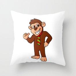 Monkey with tie Throw Pillow