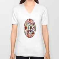sugar skulls V-neck T-shirts featuring Sugar Skulls by Spooky Dooky