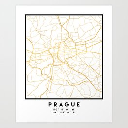 PRAGUE CZECH REPUBLIC CITY STREET MAP ART Art Print