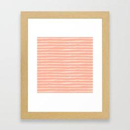 Sweet Life Thin Stripes Peach Coral Pink Framed Art Print