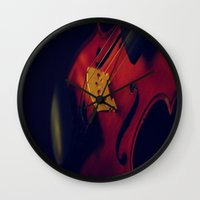 violin Wall Clocks featuring Violin by KimberosePhotography