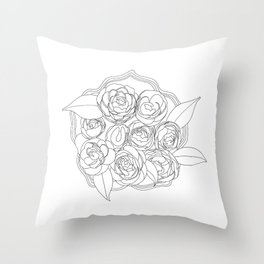 Line Flowers Throw Pillow