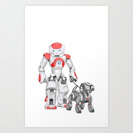 The Dog Walker. (Red) Art Print