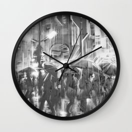 Rainy day in the city. Wall Clock