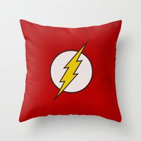the flash Throw Pillows featuring Flash by Some_Designs