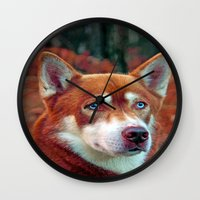 ginger Wall Clocks featuring ginger by Doug McRae