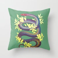 snake Throw Pillows featuring Snake by The Wildest Little Things