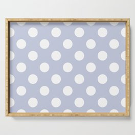 Light periwinkle - grey - White Polka Dots - Pois Pattern Serving Tray