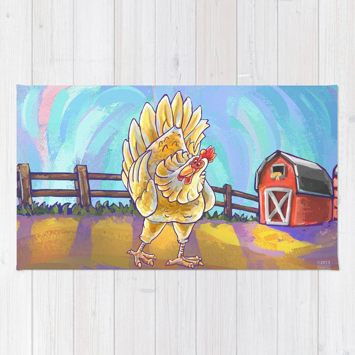 Animal Parade Chicken Rug