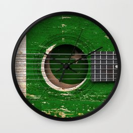 Old Vintage Acoustic Guitar with Pakistani Flag Wall Clock