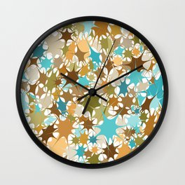 Abstract Starburst Mosaic // Turquoise, Caribbean Blue, Green, Brown // Digital Paint Splotches // V2 Wall Clock