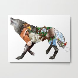 Colored Wilderness Wolf Metal Print