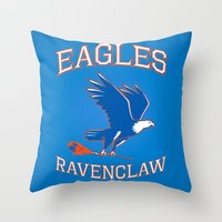 ravenclaw Throw Pillows featuring Eagles Ravenclaw by Fresco Umbiatore