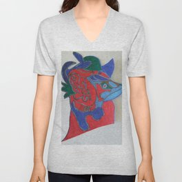Red horse abstract modern paitings by Christian T. Unisex V-Neck
