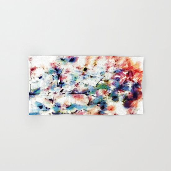 Print in watercoloring style, retro colors, illustration Hand & Bath Towel