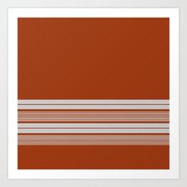 Retro Orange Grey Stripes Art Print