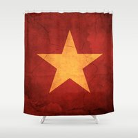 vietnam Shower Curtains featuring Vietnam Flag by anhnt32