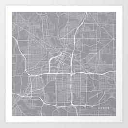 Akron Map, Ohio USA - Pewter Art Print