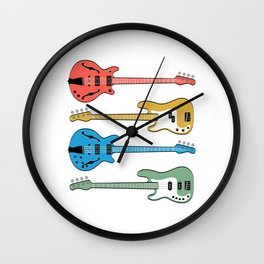 """A Musical Tee For Musicians With Illustration Of """"Bass Guitars In Different Colors"""" T-shirt Design Wall Clock"""